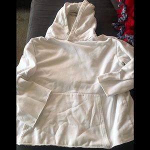 Hooded white sweatshirt